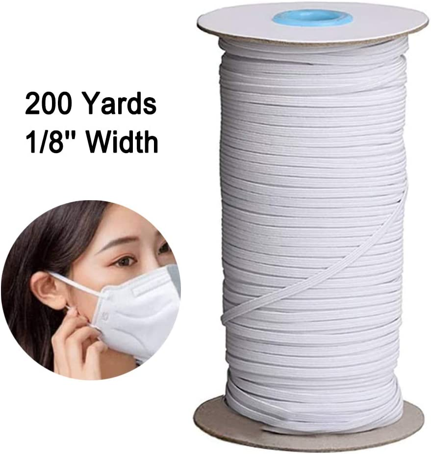 1//8 inch Elastic for Sewing Elastic Bands Cord Heavy Stretch Braided Elastic Rope 200 Yards Sewing Elastic Spool White