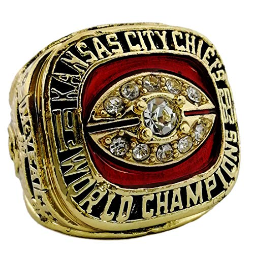 OMG-LIFE Kansas City Chiefs 1969-1970 Super Bowl Replica Championship Ring Size 9/10/11/12 (9, Kansas City Chiefs)