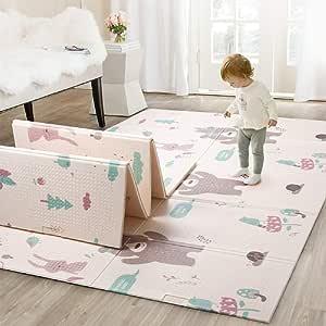 Infant Shining Baby Mat Play Mat Folding Puzzle Playmat Game Pad 200 * 150 * 1cm XPE Portable Double Sides Foam Crawling Mat for Infants (4'8''x6'4'', Bear&Koala)