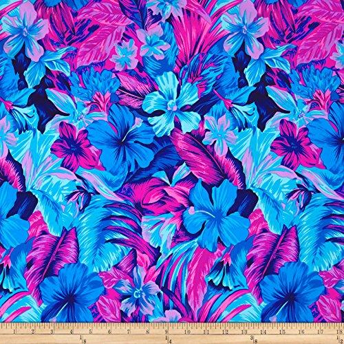 Printed Swimwear Fabric (Pine Crest Fabrics Tahitian Floral Printed Athletic Knit Original Turquoise/Magneta)