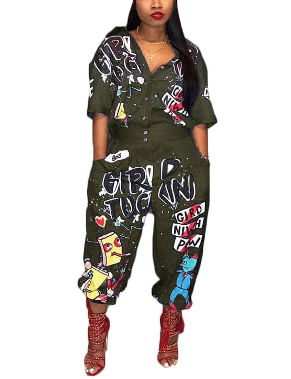 Angsuttc Women Camouflage Print Long Sleeve Zipper Turn Down Collar Wide/Leg Jumpsuit