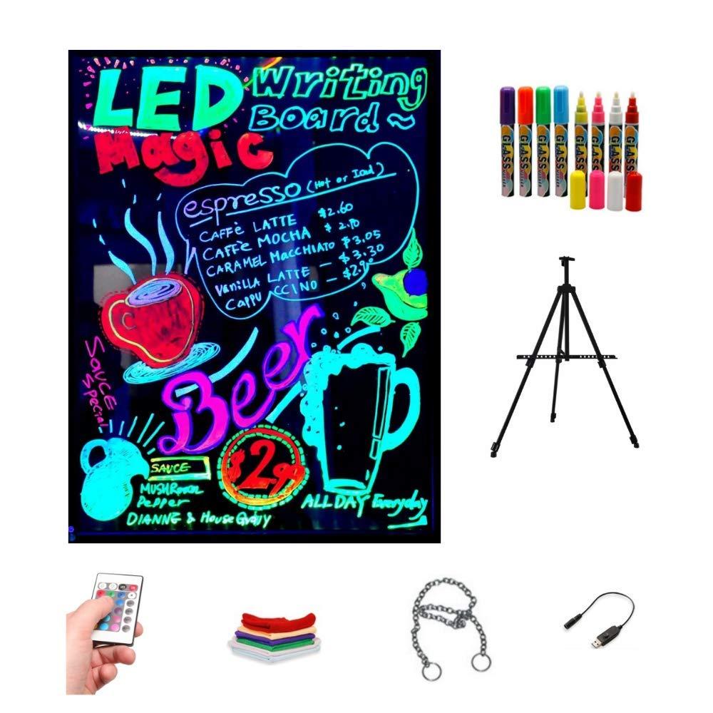 Pizarra LED luminosa 60x80cm, RGB, acrílica + TRÍPODE + PACK ...