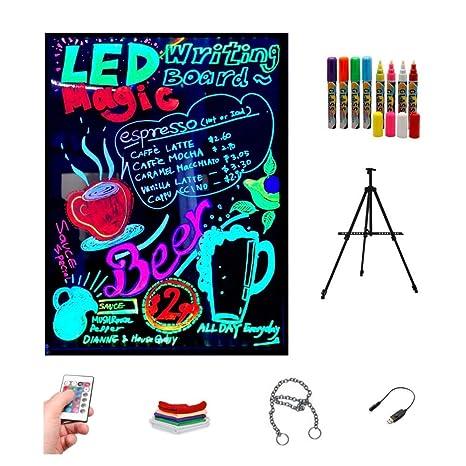 Pizarra LED luminosa 40x60cm, RGB, acrílica + TRÍPODE + PACK ...