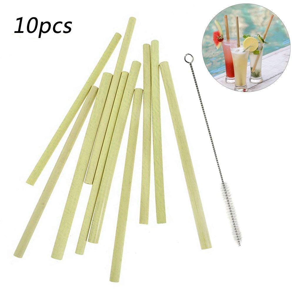 Reusable Bamboo Drinking Straws Eco-Friendly, Hand-Crafted Straws Non-Toxic & Safe ,with Cleaning Brush (Big)