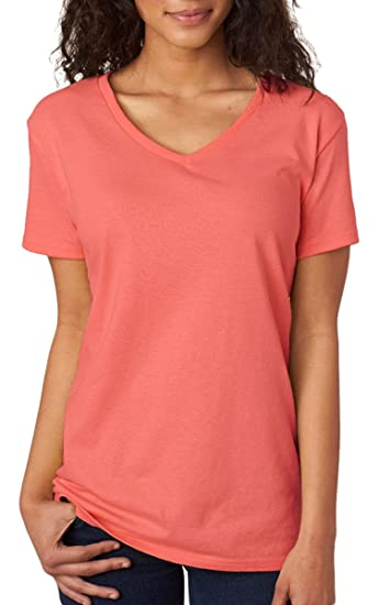 85327602d Gildan Heavy Cotton Ladies' V-Neck T-Shirt, Coral Silk, Large at Amazon  Women's Clothing store: