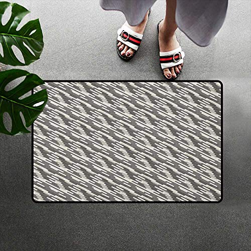 (alilihome Outdoor Door Mats Indoor/Outdoor/Front Door/Bathroom Mats Rubber Non Slip W39 x L63 INCH Abstract,Modern Stripes and Checkered Squares of Different Sizes Composition, Cream Pale Grey Black)