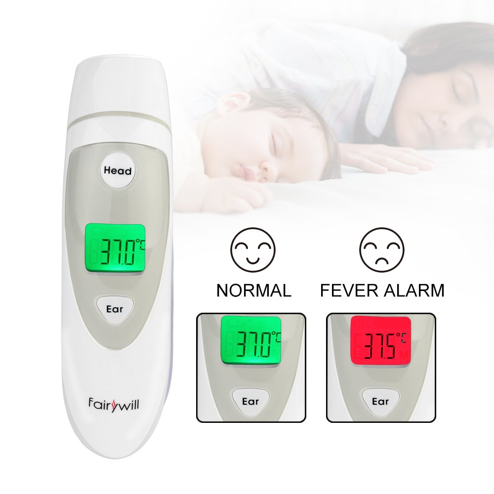 4-in-1 Professional Precision Digital Thermometer for Baby Children and Adults with Fever Alarm 2019 Upgraded Fairywill Ear and Forehead Thermometers