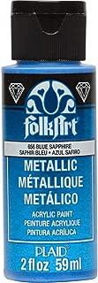 product image for FolkArt Blue Sapphire Metallic Acrylic Paint, 2 oz, 2 Fl Oz