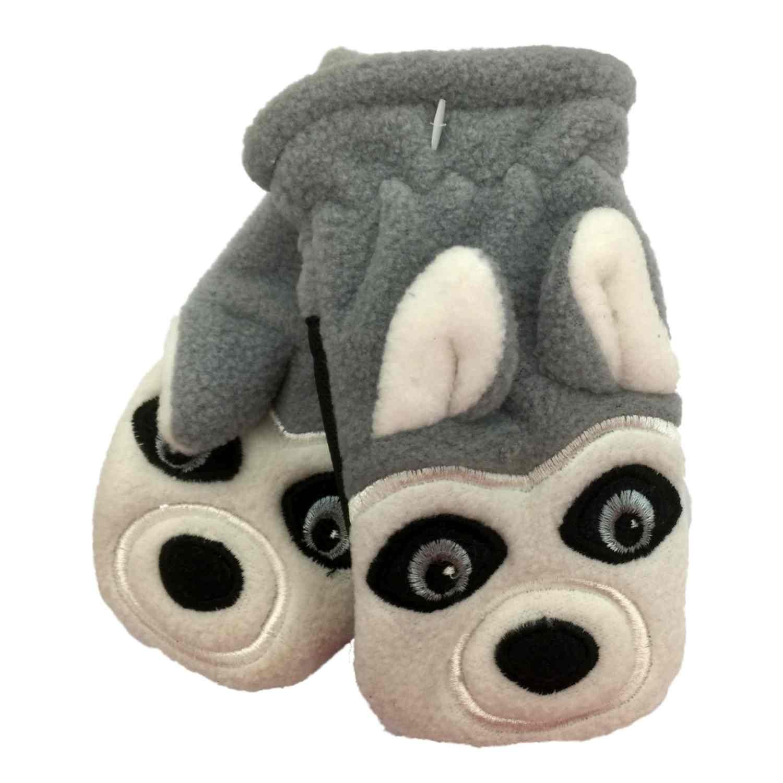 CP Infant Boys Gray Microfleece Husky Dog Mittens
