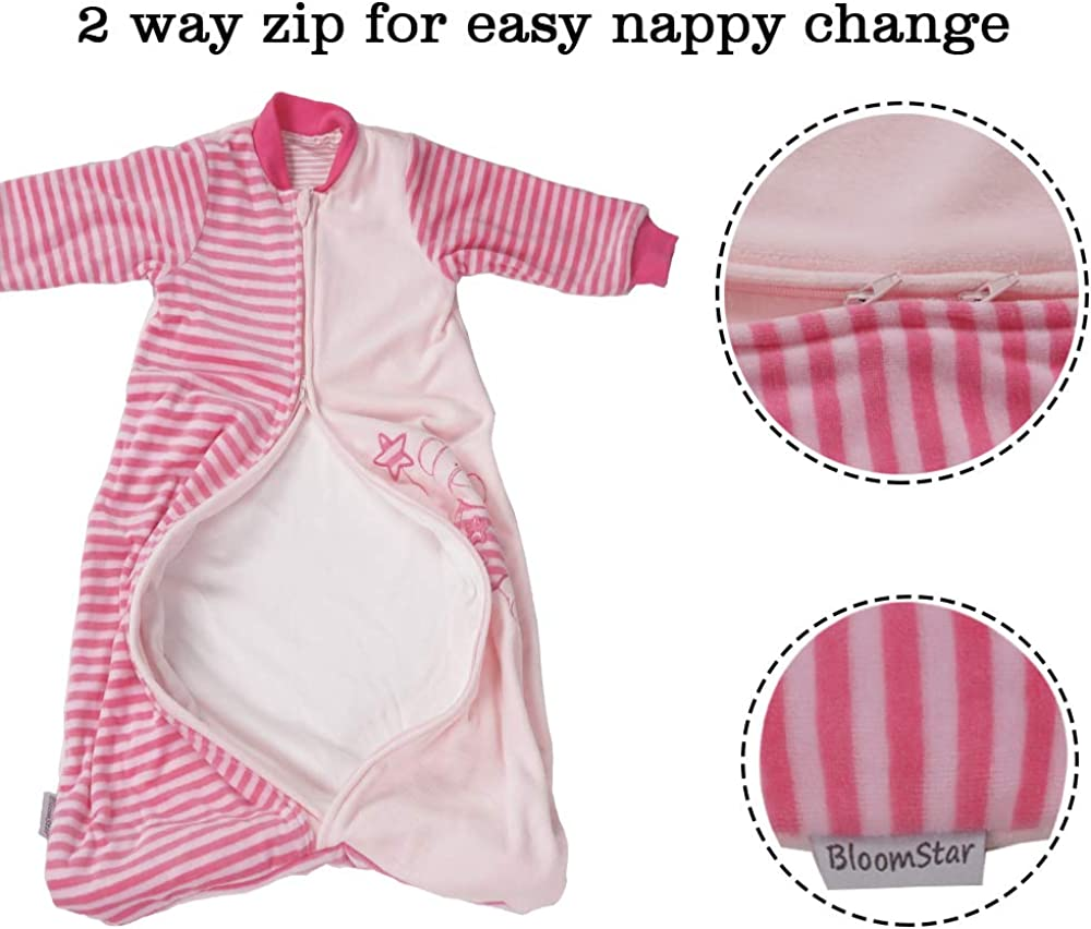 BLOOMSTAR Baby Wearable Blanket with Sleeves Baby Sleeping Bag and Sack,Velvet Cotton Warm Soft 2.0 TOG