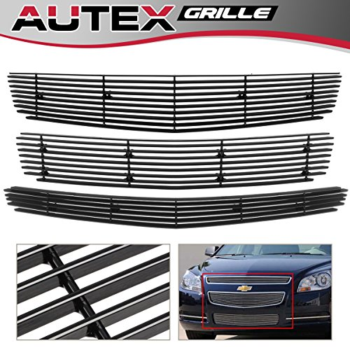 AUTEX Black Main Upper + Lower Bumper Billet Grille Combo Compatible With 2008 2009 2010 2011 2012 Chevy Malibu Grill Insert C61015H