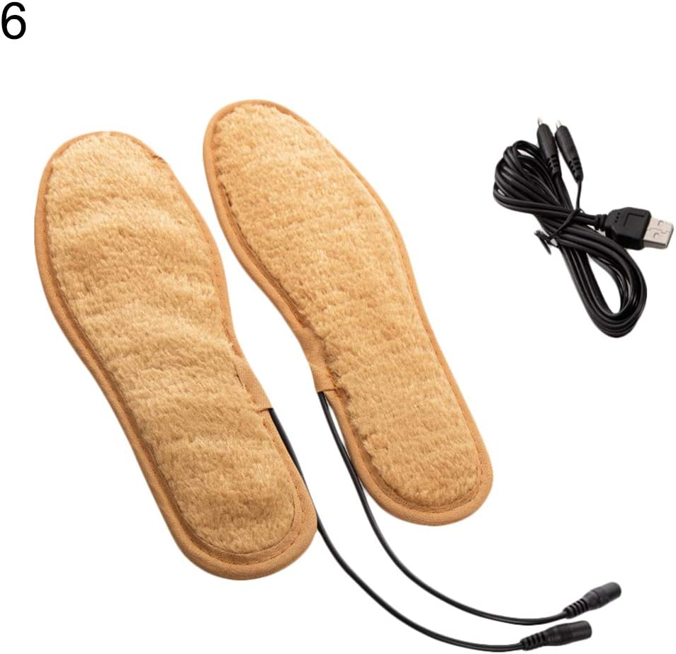 GrmeisLemc Winter Unisex USB Rechargeable Insoles Portable Electric Heating Warm Foot Shoes Plush Cushion Brioche - # 6