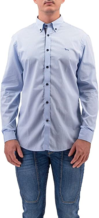 Harmont & Blaine Camisa Azul con Borde y Parches en Contraste Turquesa XL: Amazon.es: Ropa y accesorios