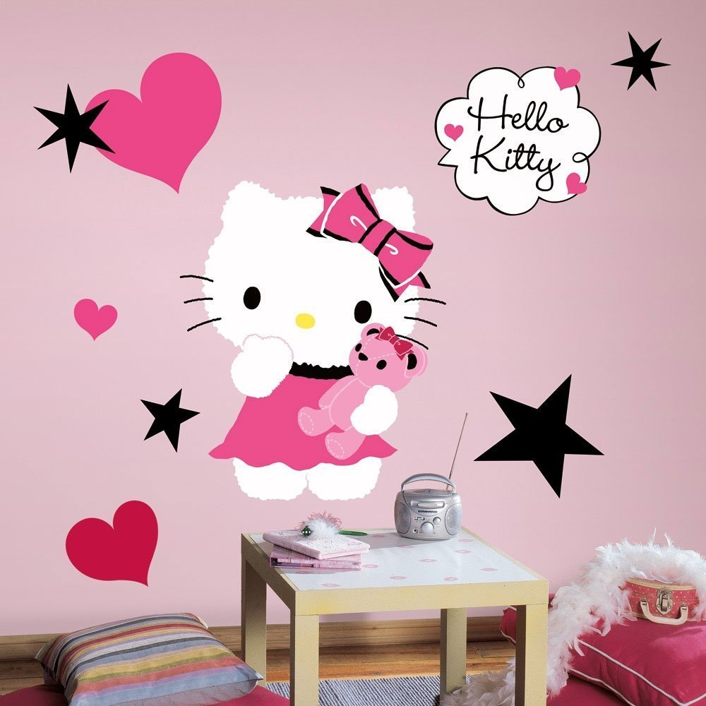 amazoncom hello kitty  couture peel  stick giant wall decal   - amazoncom hello kitty  couture peel  stick giant wall decal  x inhome improvement