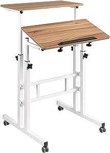 Hadulcet Adjustable Standing Desk, Mobile Standing Desk Laptop Cart on Wheels, Rolling Table Computer Workstation Home Office for Stand Up, Vintage Oak