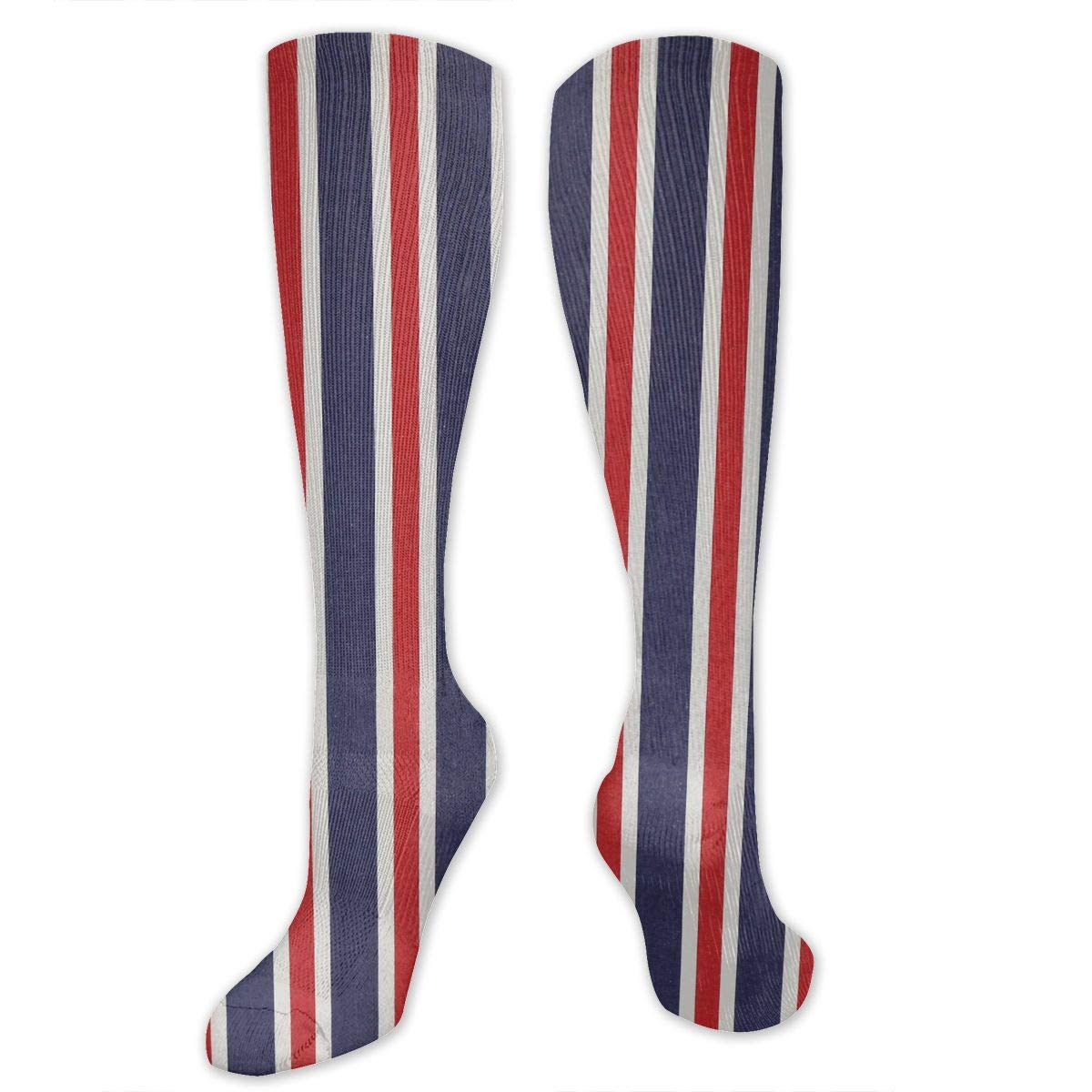 Willbegood99 Red White and Blue Striped Fabrics Mens Fun Dress Socks Colorful Pattened Novelty Mid-Calf Crew Socks Premium Cotton Vibrant Art Socks