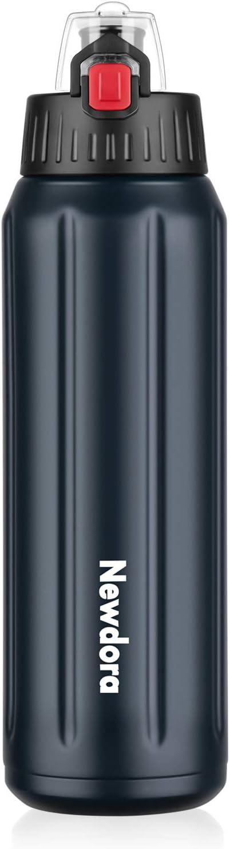 Newdora Botella de Agua Deportiva de Acero Inoxidable 316, Botella Termica con Doble Aislamiento para 12 Horas de Bebida Caliente y 24 Horas de Bebida Fría, 600ML