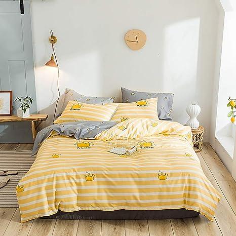Ropa de cama blanca con rayas amarillas Funda nórdica Queen Colchas blancas y amarillas Completo for niñas Funda de edredón amarillo Sábanas de doble estrella Colcha Colcha Colcha en amarillo y gris