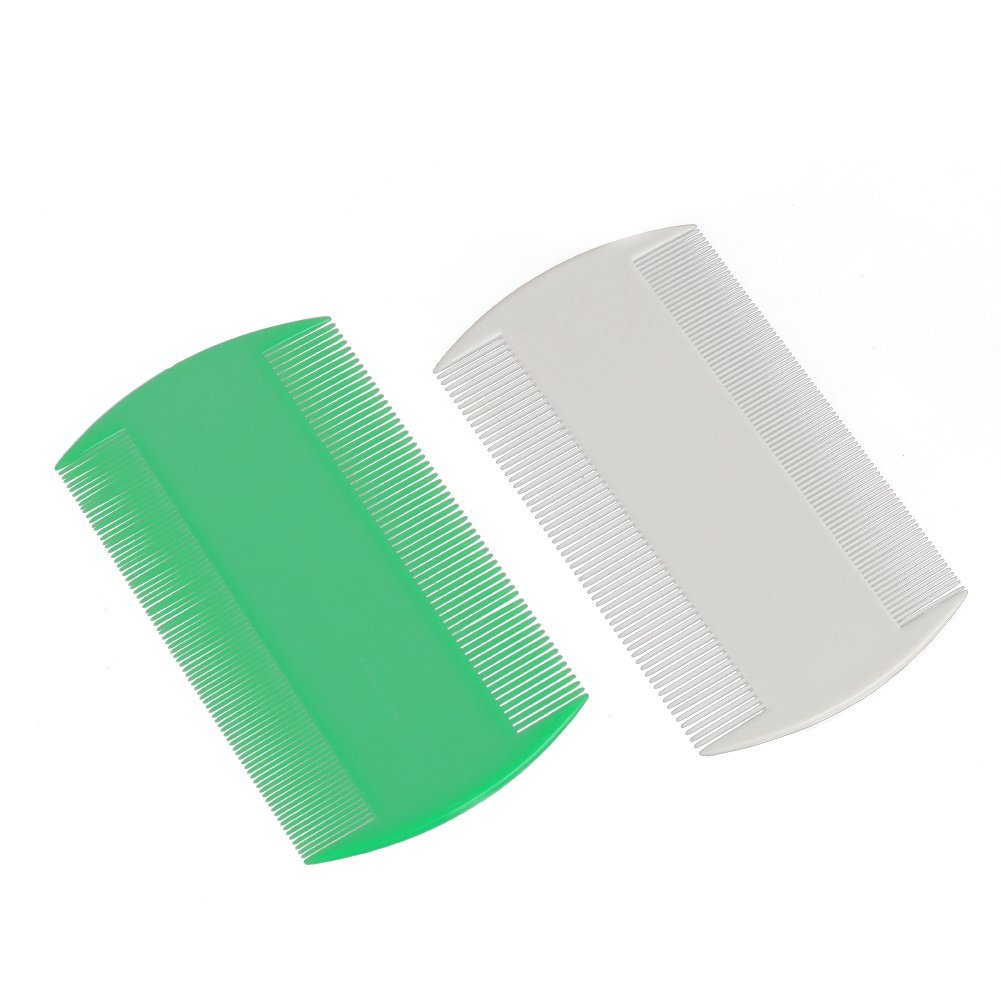 Double Sided Nit Fine Tooth Head Lice Comb Plastic Hair Care for Kids Pet 2 Pcs