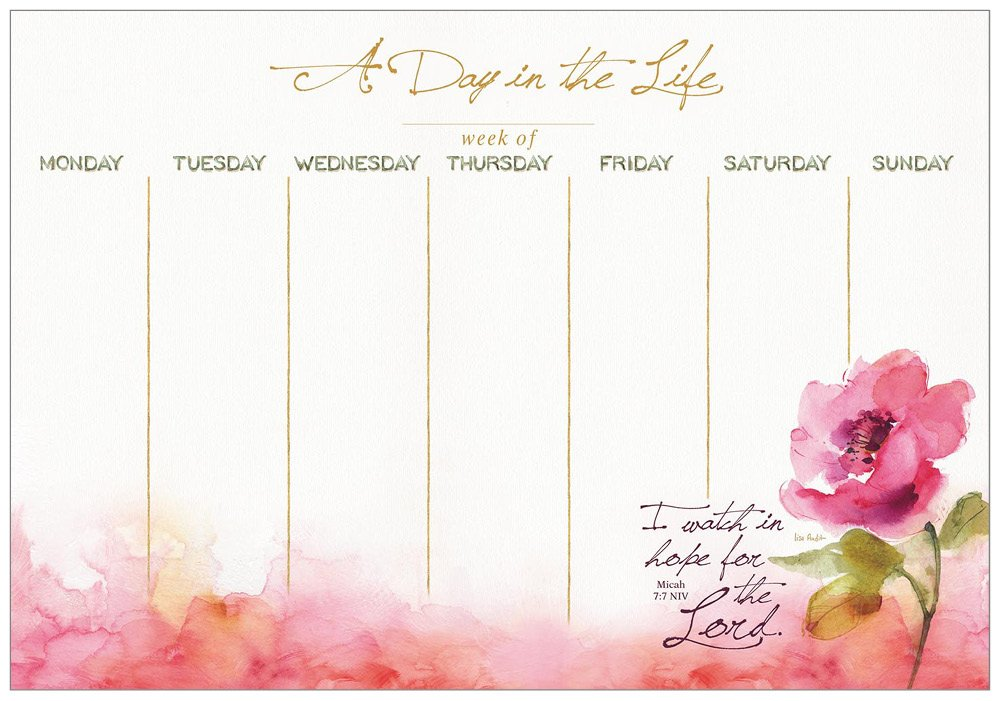 Legacy PublishingグループA Day in the Life Undated Weekly Plannerパッド ピンク ブルーム  B06XC9J57X