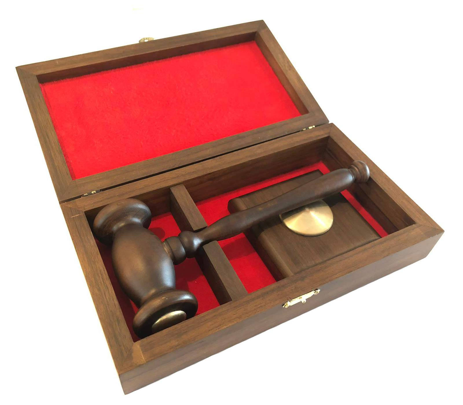 Deluxe Boxed Gavel Square Brass Block Set - Stylish Design - Handmade Quality Wooden Boxed - 9 Inch High Gloss Walnut Finish Gavel & Block 10.6x6.1x2.7 Inch - Perfect Gift Idea