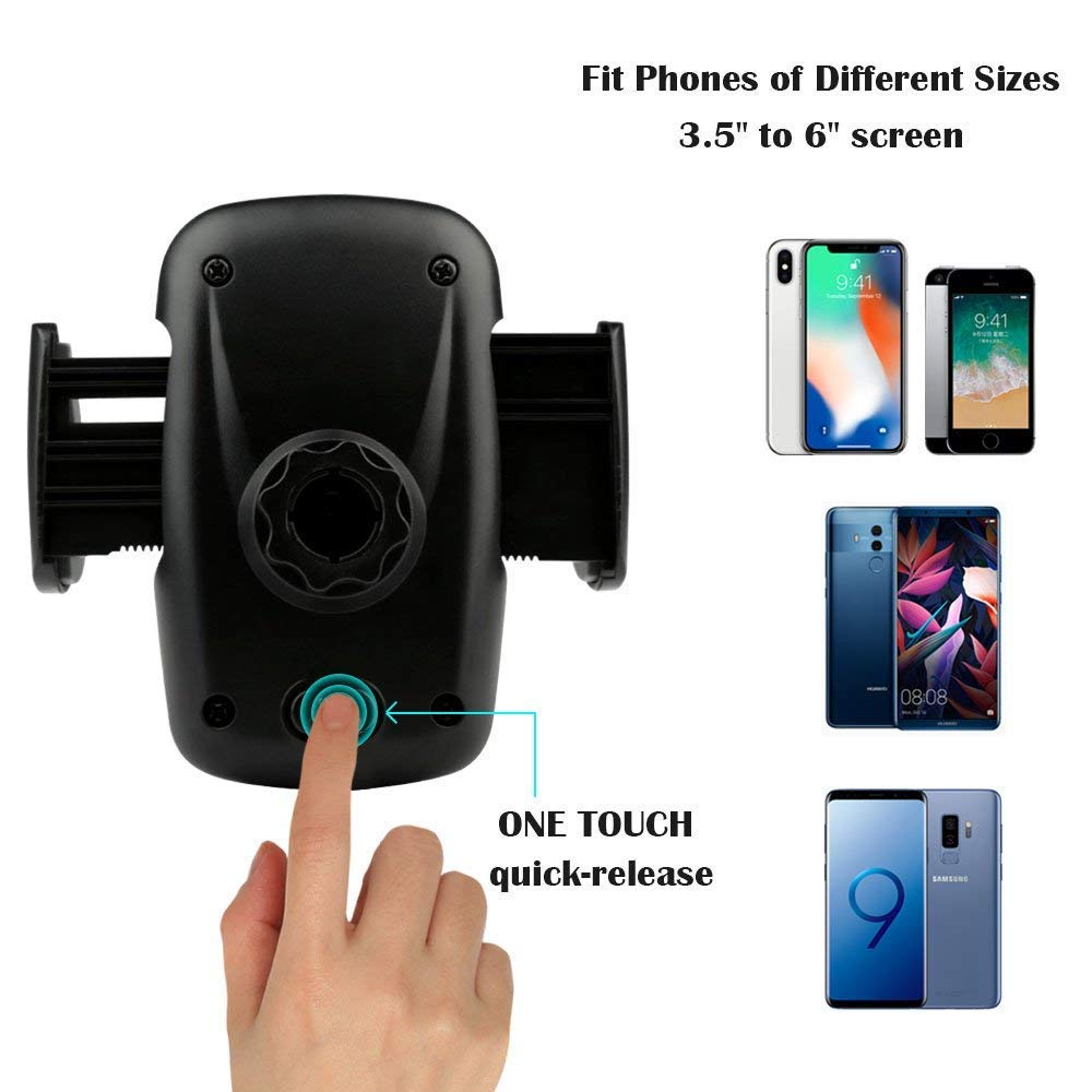 volport Phone Holder for Car Air Vent, Car Mount Quick Easy Release Button and 360 Degree Rotation Cradle for Phone X 8 8 Plus 7 7 Plus SE 6s 6 Plus 6 5s Samsung Galaxy S9 8 6 LG Nexus Sony Huawei