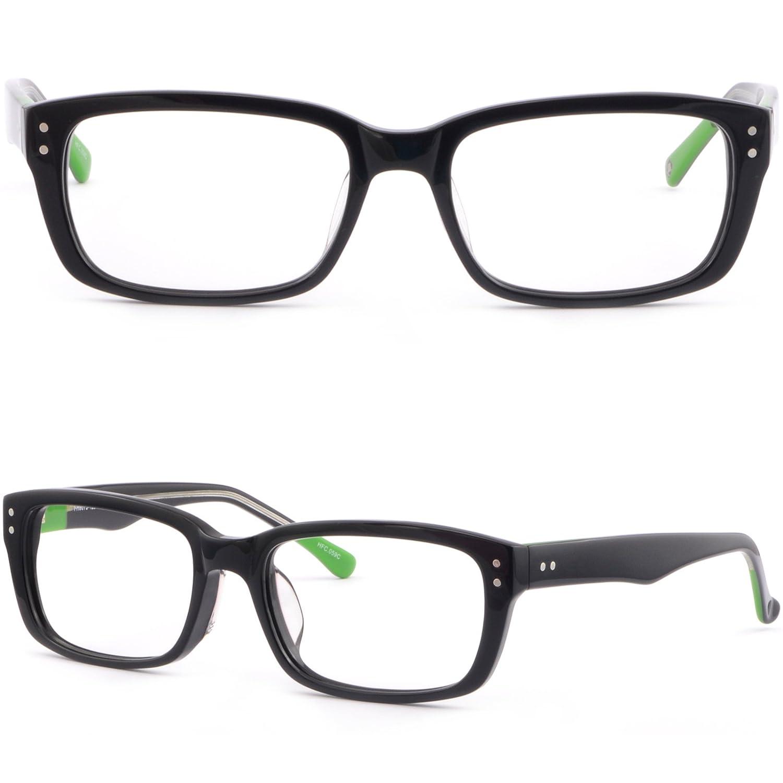 Thick Rectangular Mens Womens Plastic Frame Prescription Glasses Acetate Black