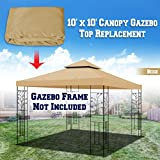 BenefitUSA Replacement 10'X10' Gazebo Canopy Top Cover Patio Pavilion Sunshade Double Tiers (Beige)