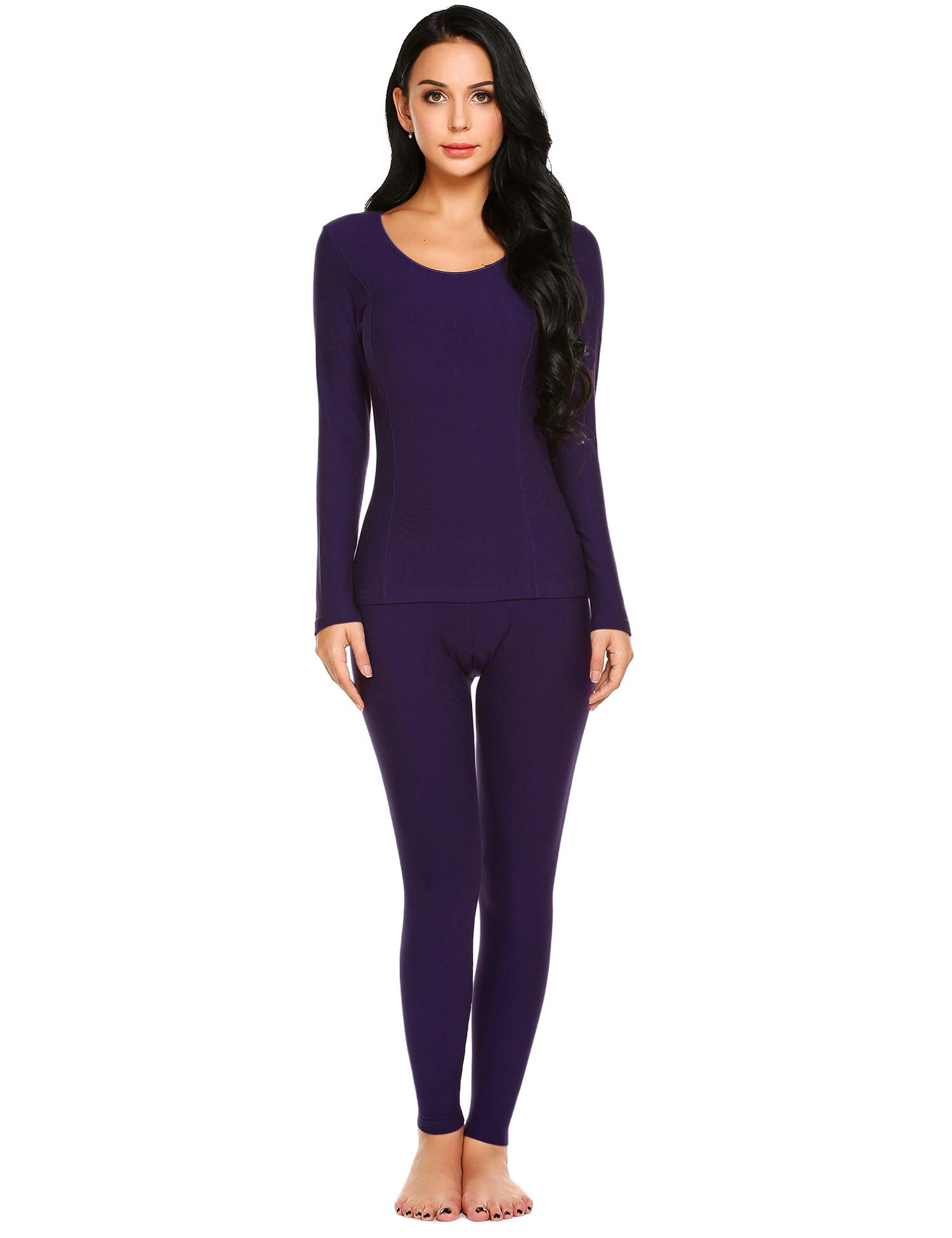 Ekouaer Women's Long Thermal Underwear Fleece Lined Winter Base Layering Set,Purple,Medium by Ekouaer