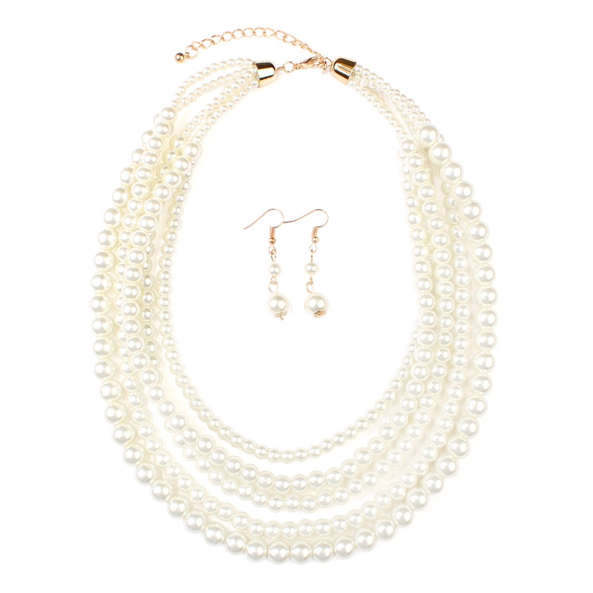 MYS Collection Women's Classic Glass Pearl Layer Necklace Set