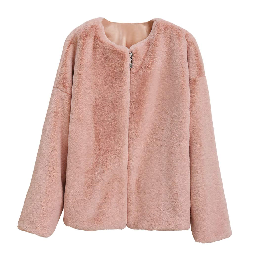 TIFENNY Plush Fur Coats for Women Fashion Winter Long Sleeve Casual Warm Plush Short Jacket Round Neck Cardigan Outwear Pink by TIFENNY