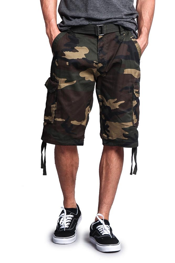 G-Style USA Men's Camo Ripstop Belted Cargo Shorts 9AP30 - Khaki - 40 - S1B