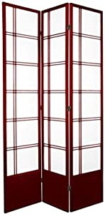 Oriental Furniture 7 ft. Tall Double Cross Shoji Screen - Rosewood - 3 Panels
