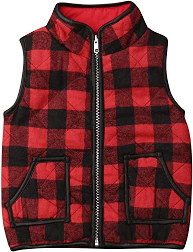 Toddler Kids Baby Boy Girl Plaid Warm Sleeveless Zipper Jacket Coat Outwear Vest Outfits Clothes Fall Winter