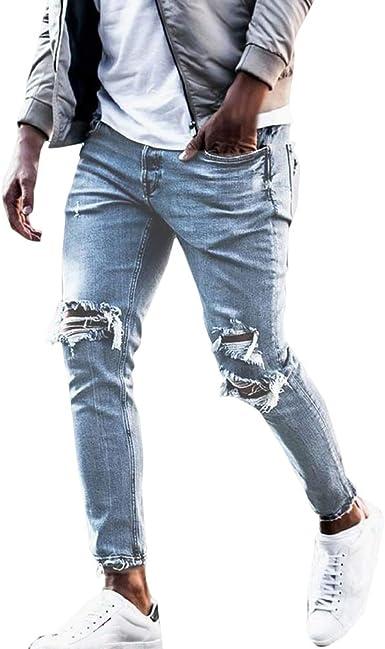 Junkai Hombre Desgastados Vaqueros Pantalones Hombre Pintura Pantalones Ocio Doblar Jeans Pantalones Otono Invierno M 3xl Amazon Es Ropa