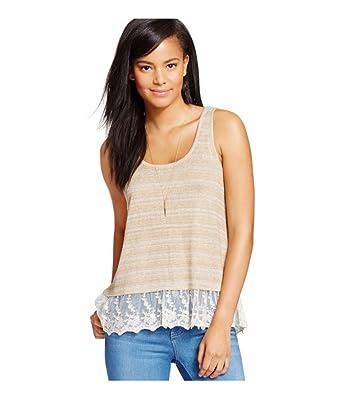 0fac58f4ff9974 Amazon.com  Eyeshadow Womens Lace-Hem Tank Top Brown XL - Juniors ...