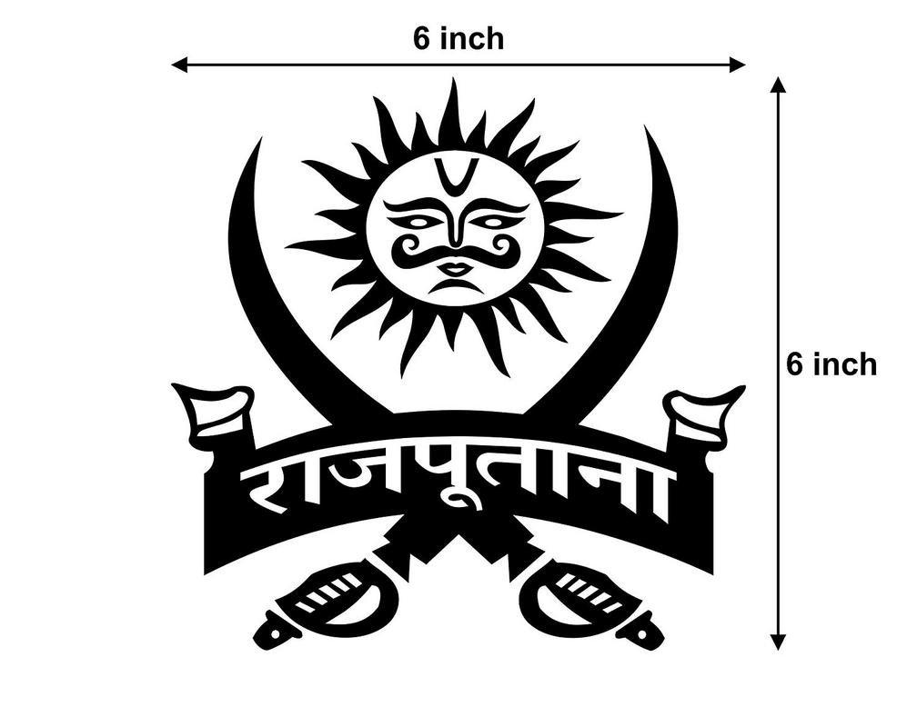 Arwy rajputana logo sticker 6x6 inch black amazon in car motorbike