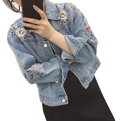 12cf1c8cb12f0 BOLAWOO Jean Blouson Femme Broderie Fleur Revers Long Manches Jean Blouson  Fille Elégante Mode Chic Printemps