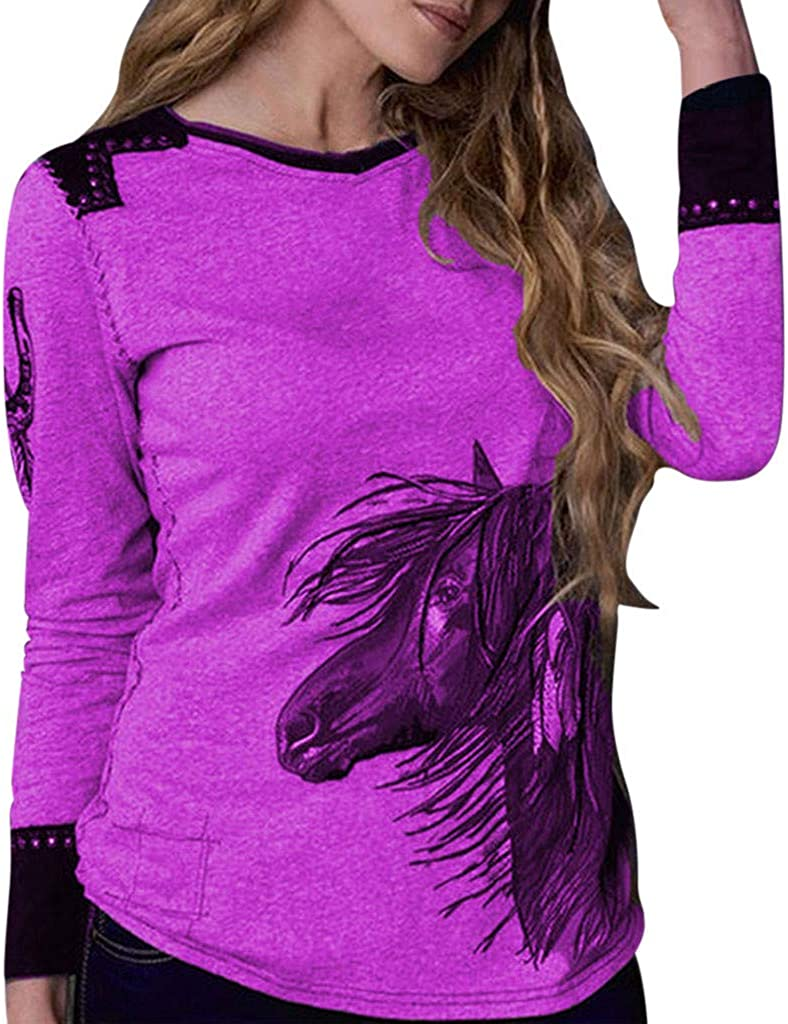 Eoeth Womens Casual Simple Wild Lettering Printing Long Sleeve T-Shirt Top Blouse Comfortable Pullover Tracksuits