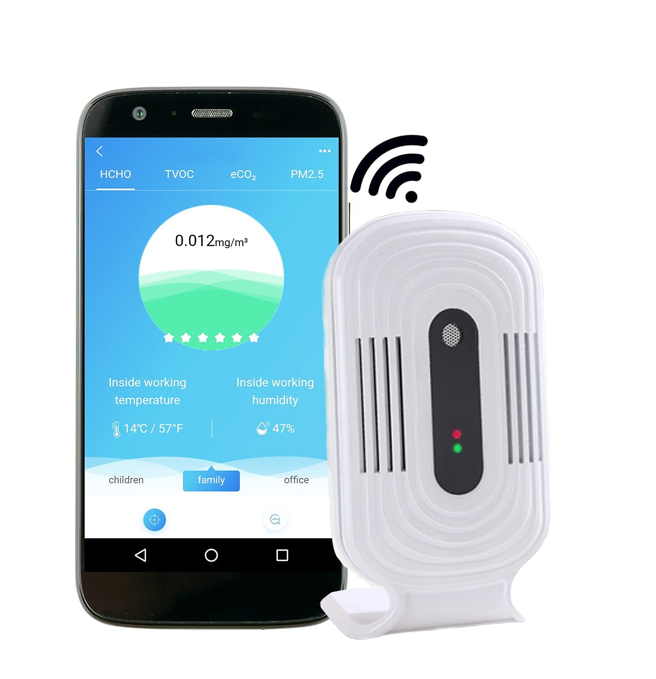 RocoViv Air Quality Monitor - CO2, Formaldehyde HCHO, TVOC, PM 2.5, Temperature and Humidity Sensor for Home or Office, Portable Smart Real Time WiFi Sensor, with Free APP.