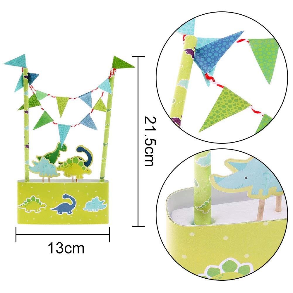 WENTS Kit de Decoraci/ón de Pasteles 2PCS Conjunto de Sombrero de Copa de Dinosaurio de Dibujos Animados Pirata Bunting Decoraciones de Pastel de Fiesta de Cumplea/ños para Ni/ños