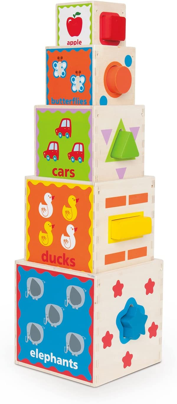 Hape Pyramid of Play Wooden Toddler Wooden Nesting Blocks Set