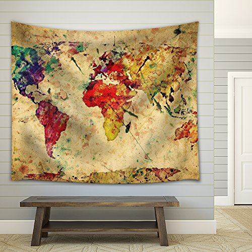 Wall26® A Map of the World in Water Colors on a Vintage Background - Fabric Tapestry, Home Decor - 68x80 inches