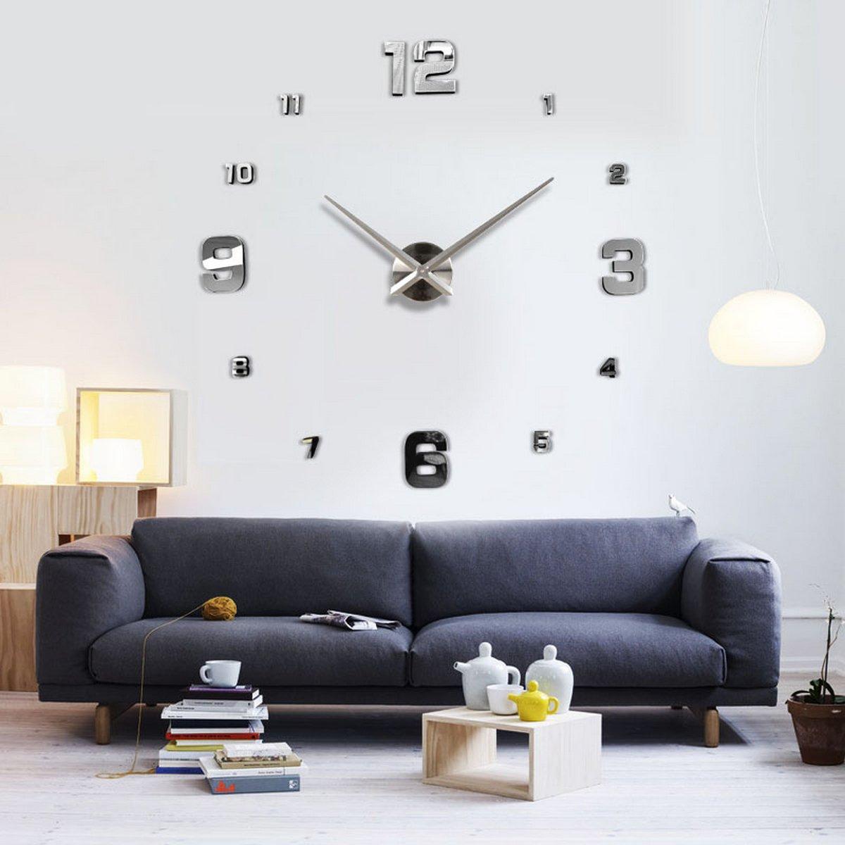 UNIQUEBELLA Wanduhr Riesige Spiegel Wanduhr Vinyl DIY Ø Ø Ø 130cm Große XXL Design Uhr küchenuhr Quarzuhr Analoguhr 08b46d