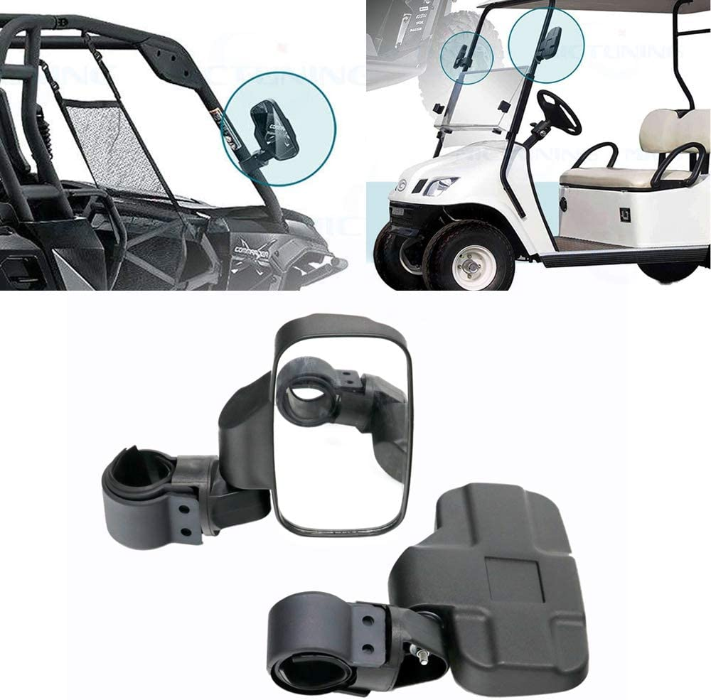 Universal UTV Side View Mirror Offroad Rear View Side Mirror for 1.6-2 Roll Cage Tempered Glass Breakaway Mirrors