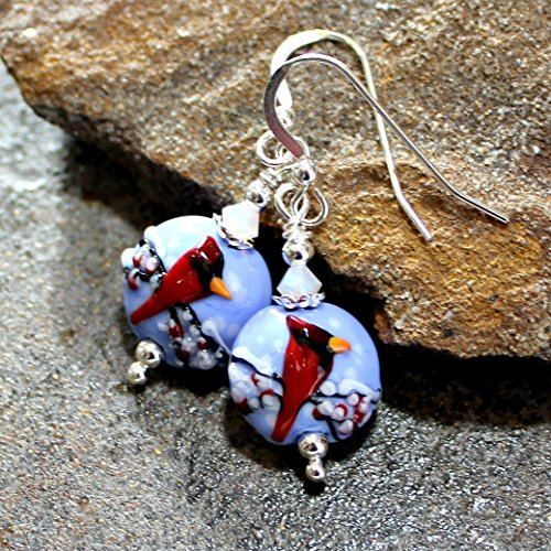 Snowy Red Cardinal Art Glass Lampwork Earrings, Sterling Silver