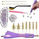 Hotfix - Kit de aplicador de diamantes de imitación para decorar con brillantes, incluye 7 puntas de diferentes tamaños, pinzas de limpieza, 2 lápices y adornos de cristales de estrás