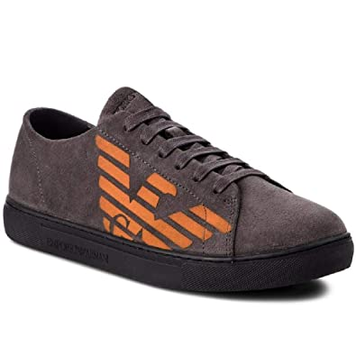 c1c56cd2 Amazon.com | Emporio Armani Eagle Logo Suede Grey Trainer | Fashion ...