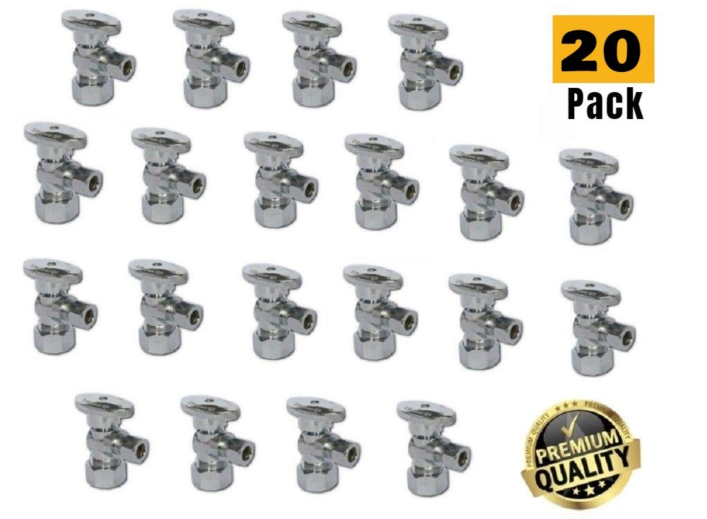 1/2-in Nominal (5/8'' OD Comp) x 3/8-in OD Outlet Chrome Plated Brass 1/4-Turn Angle Stop Shutoff Ball Valve (20-Pack) by EZ-Fluid (Image #1)