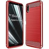 【YEZHU】 Sony Xperia L3 ケース 炭素繊維カバー TPU シリコン ケース 保護バンパー 弾力性付きXperia L3専用 耐衝撃 スマートフォン対応(レッド)